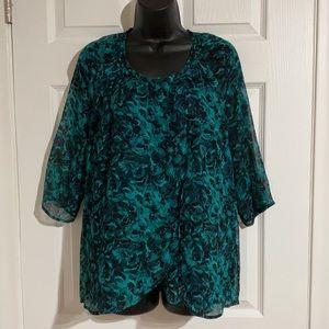 Winter Kate Silk Split Front Layered Blouse Sz L